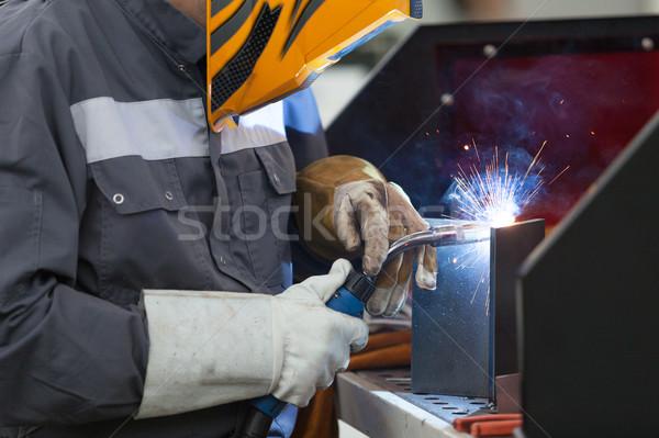 Manuel métal soudage travailleur masque travaux Photo stock © wellphoto