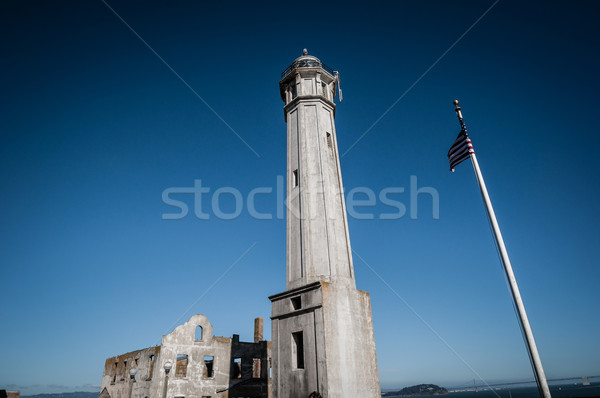 Alcatraz with US Flag Stock photo © weltreisendertj