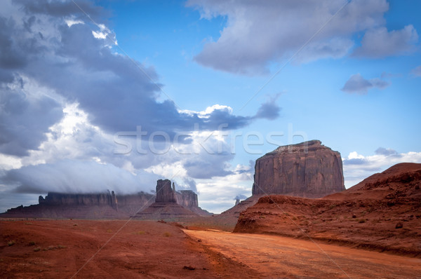 Monument valley road with big thunder cloud in background Stock photo © weltreisendertj