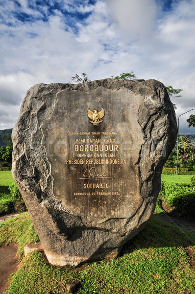 Templo piedra signo java Indonesia puesta de sol Foto stock © weltreisendertj