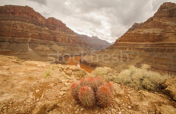 Foto stock: Grand · Canyon · hermosa · paisaje · detrás · 2013 · puesta · de · sol