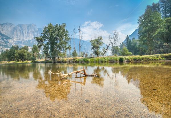 Yosemite rzeki widoku niebo wody drzewo Zdjęcia stock © weltreisendertj