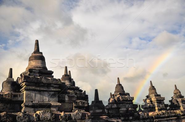 虹 寺 複雑な ジャワ インドネシア 背景 ストックフォト © weltreisendertj