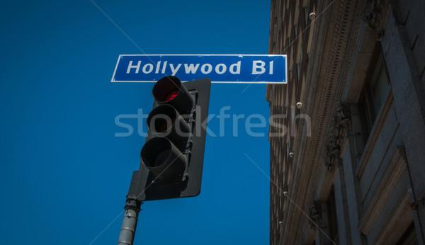 Hollywood straat teken verkeerslichten 2013 business weg Stockfoto © weltreisendertj