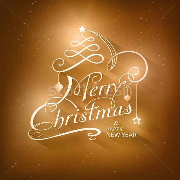 Gouden bruin lichteffecten vrolijk christmas Stockfoto © wenani