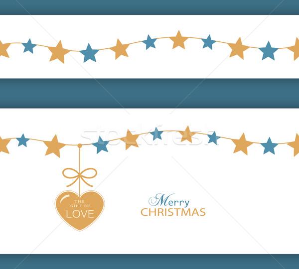 Navidad estrellas frontera corazón regalo amor Foto stock © wenani