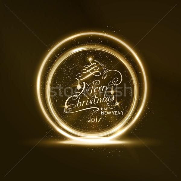 Gouden vrolijk christmas frame gelukkig nieuwjaar Stockfoto © wenani