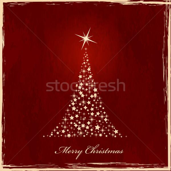 рождественская елка звезды темно красный Гранж Сток-фото © wenani
