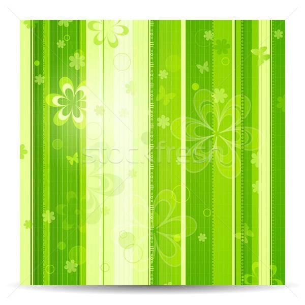 Photo stock: Rayé · floral · vert · printemps