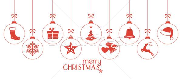 монохромный красный Рождества украшения набор подвесной Сток-фото © wenani