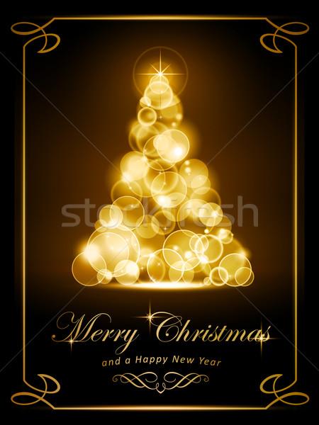 Elegant golden Christmas card Stock photo © wenani