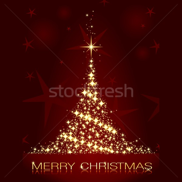 Dark red Christmas card with shining golden Christmas tree Stock photo © wenani