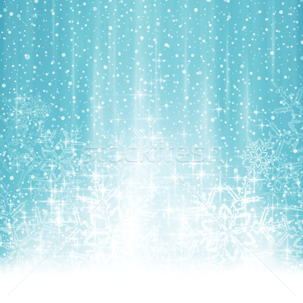 Abstract white blue winter Christmas background with snowfall Stock photo © wenani