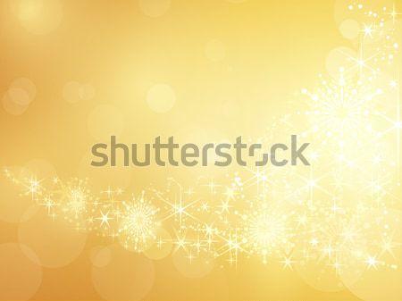 Gouden star sneeuwvlok grens feestelijk Stockfoto © wenani