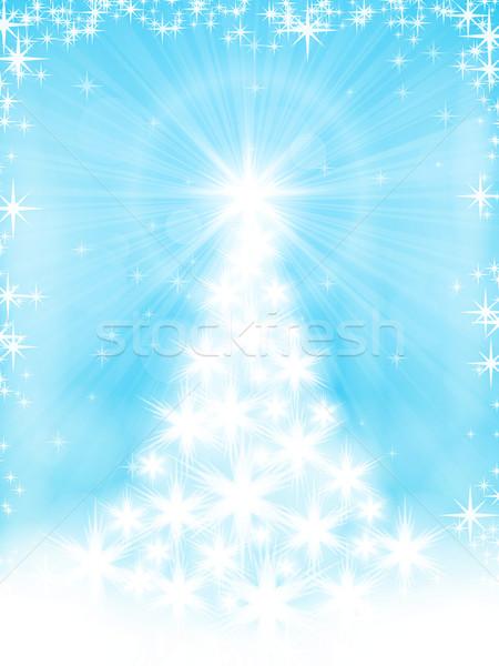 Açık mavi beyaz Yıldız noel ağacı ışık Stok fotoğraf © wenani