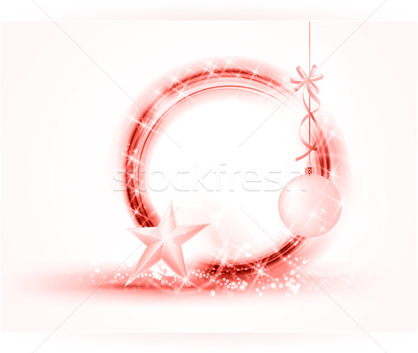 Circular red Christmas frame with star and bauble Stock photo © wenani