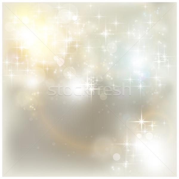 серебро Рождества фары звезды световыми эффектами Сток-фото © wenani