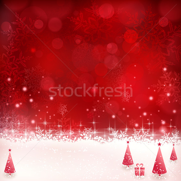 Red Christmas background with snowflakes, stars and Christmas tr Stock photo © wenani