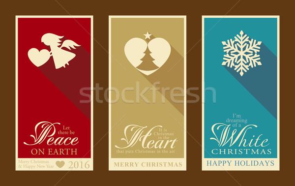 набор Рождества с Новым годом Этикетки Баннеры Сток-фото © wenani