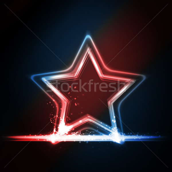 Red blue white glowing frame shaped as a star Stock photo © wenani