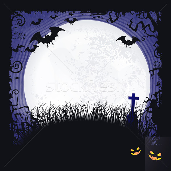 full moon halloween background with bats cross and full moon vector