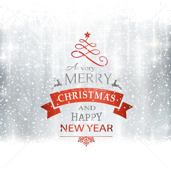 Plata alegre Navidad tipografía tarjeta resumen Foto stock © wenani