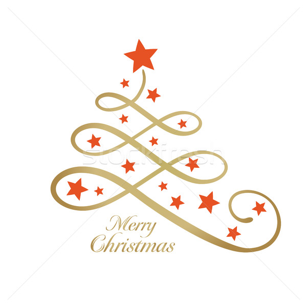 Golden Merry wording with Christmas tree and stars, line art Stock photo © wenani