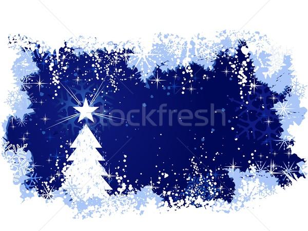 Hiver grunge arbre de noël star bleu résumé Photo stock © wenani