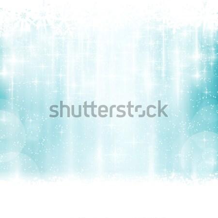 Blauw winter christmas lichteffecten abstract zichtbaar Stockfoto © wenani