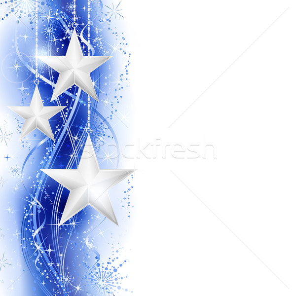Blue silver star border Stock photo © wenani