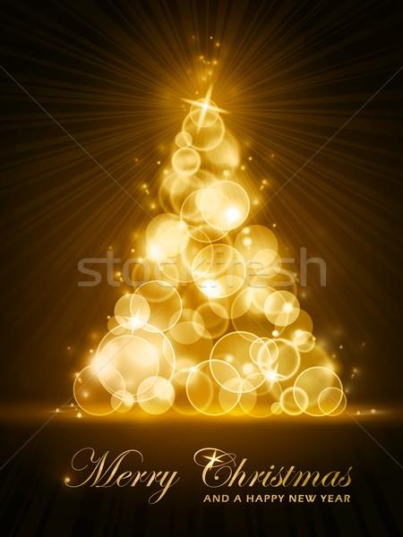Golden stylised Christmas tree Stock photo © wenani