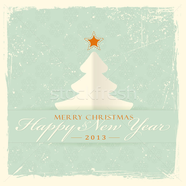 Christmas tree with text Merry Christmas and Happy New Year Stock photo © wenani
