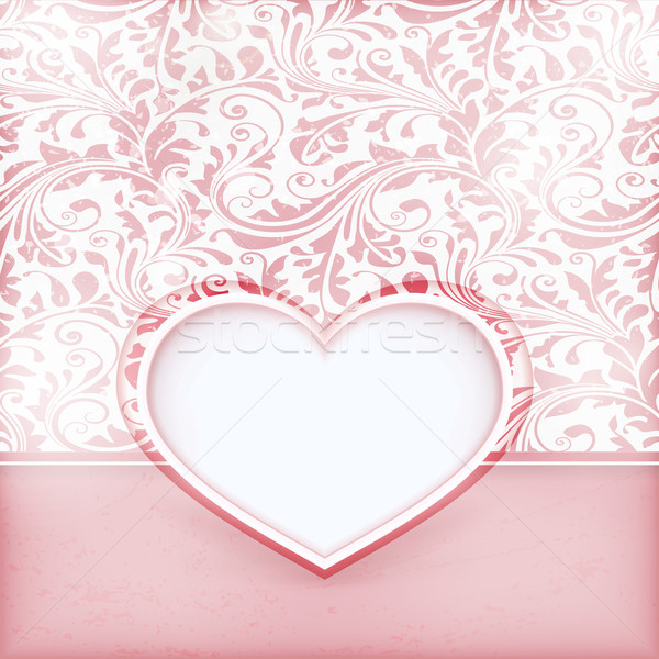 Stock photo: Grungy floral invitation card with love heart label