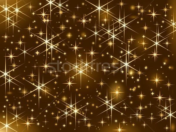 Fényes arany csillagok karácsony csillog csillagos ég Stock fotó © wenani