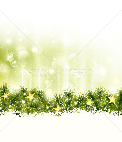 Border of fir twigs with golden stars in soft light green background Stock photo © wenani
