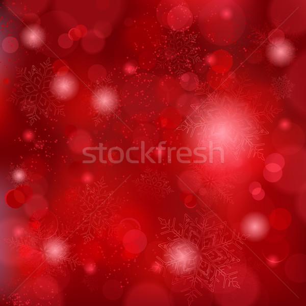 Beautiful soft red snowflake background with bokeh lights Stock photo © wenani