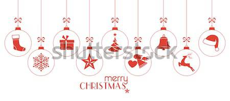 Red Merry Christmas and Happy New Year border with hanging ornam Stock photo © wenani