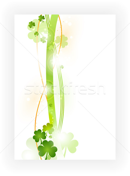 Border with shamrocks in green and orange on white background Stock photo © wenani