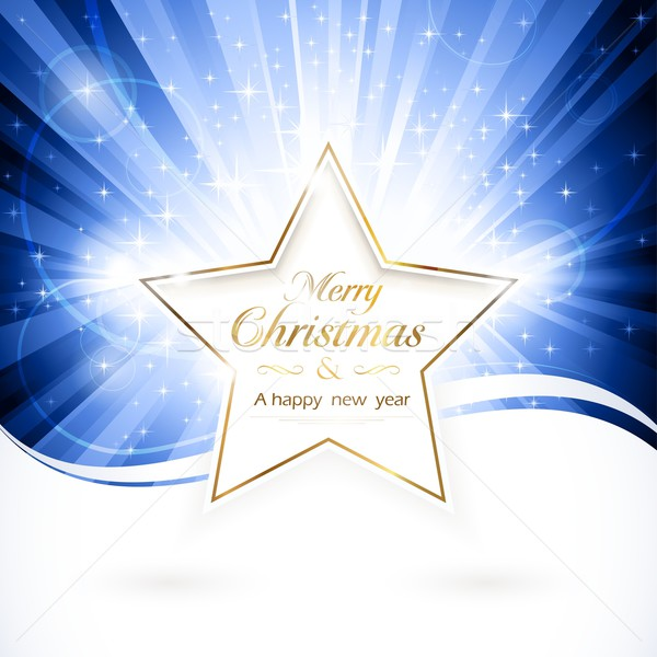 Or Noël star brillant mots joyeux Photo stock © wenani