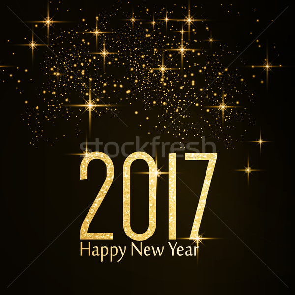Gold glitter texture number 2017 Happy New Year Stock photo © wenani