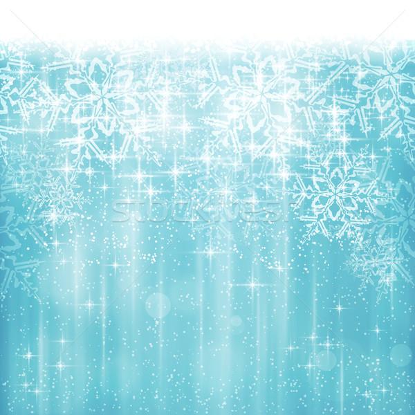 ストックフォト: 抽象的な · 白 · 青 · クリスマス · 冬 · スノーフレーク