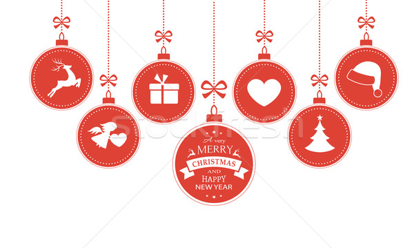 Hanging baubles with Christmas symbols Stock photo © wenani