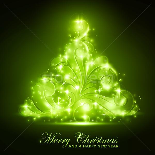 Verde árvore de natal macio brilho efeitos de luz Foto stock © wenani