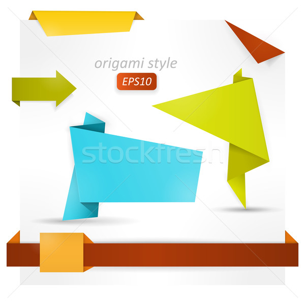 Origami style speech banner, paper shapes Stock photo © wenani