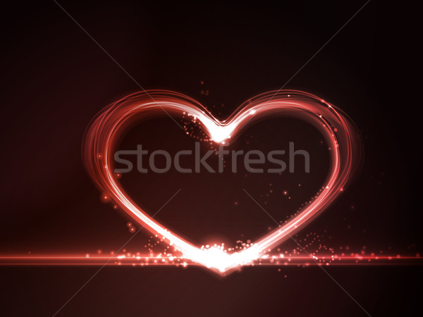 Red glowing heart Stock photo © wenani