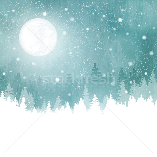 Winter landscape with snowfall, fir trees and full moon Stock photo © wenani