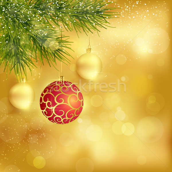 Golden Christmas background with baubles and fir twigs Stock photo © wenani