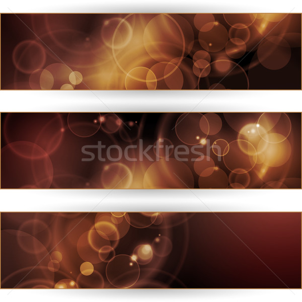 Set of sepia tone bokeh banners Stock photo © wenani