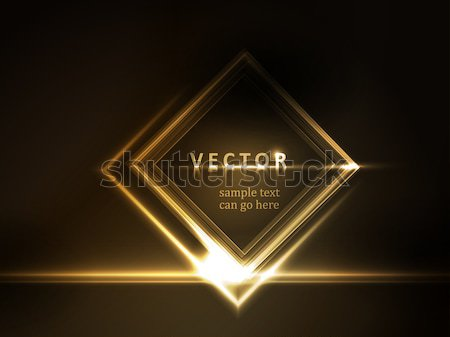 Or cadre texte effets de lumière carré Photo stock © wenani