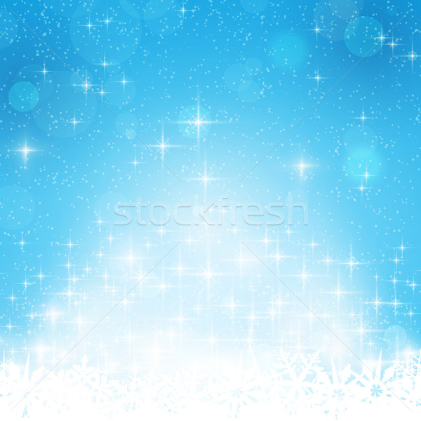Blue winter, Christmas background with stars and lights Stock photo © wenani